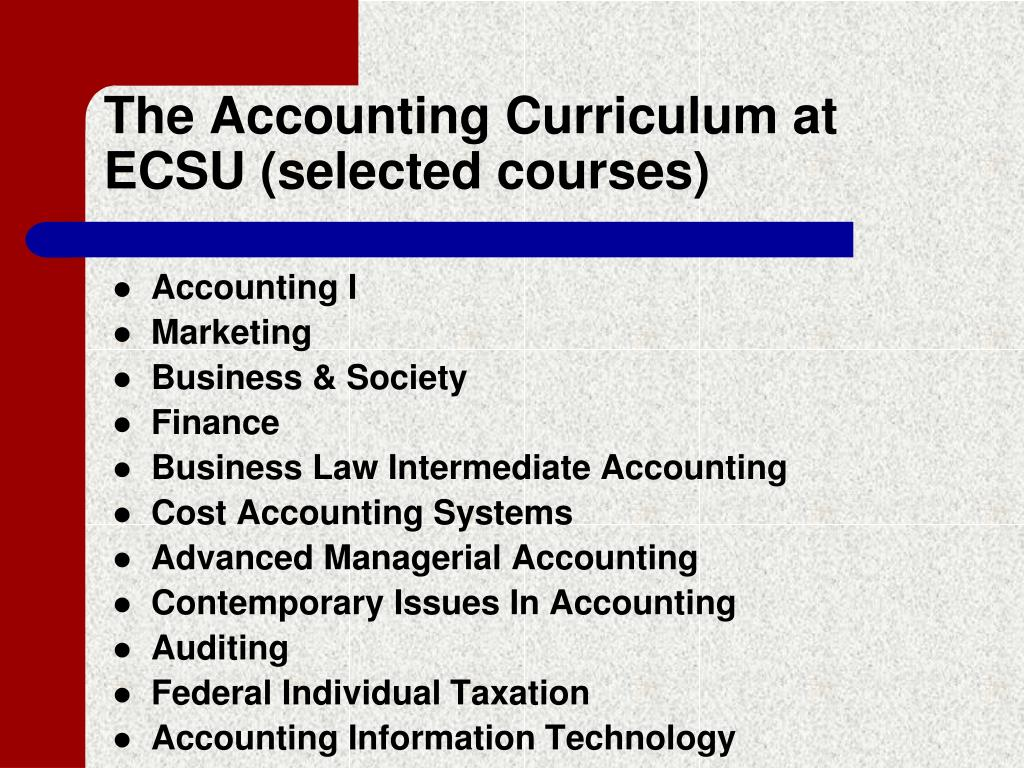 The Accounting Curriculum at ECSU (selected courses)