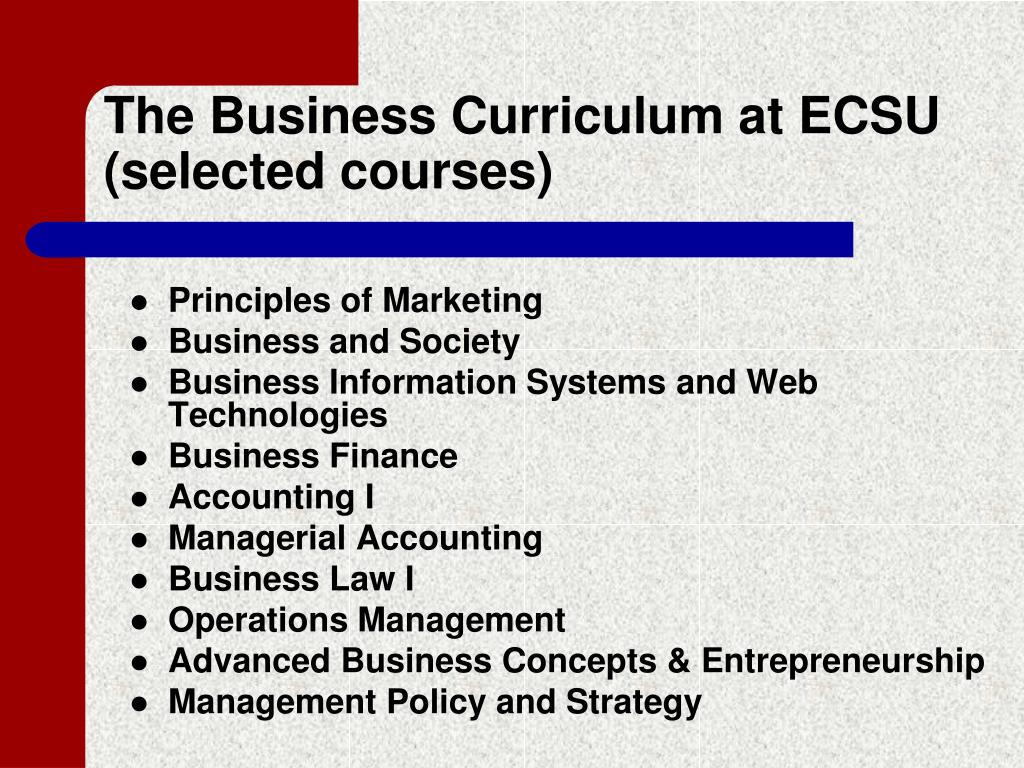 The Business Curriculum at ECSU (selected courses)