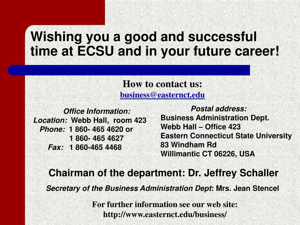 Wishing you a good and successful time at ECSU and in your future career!