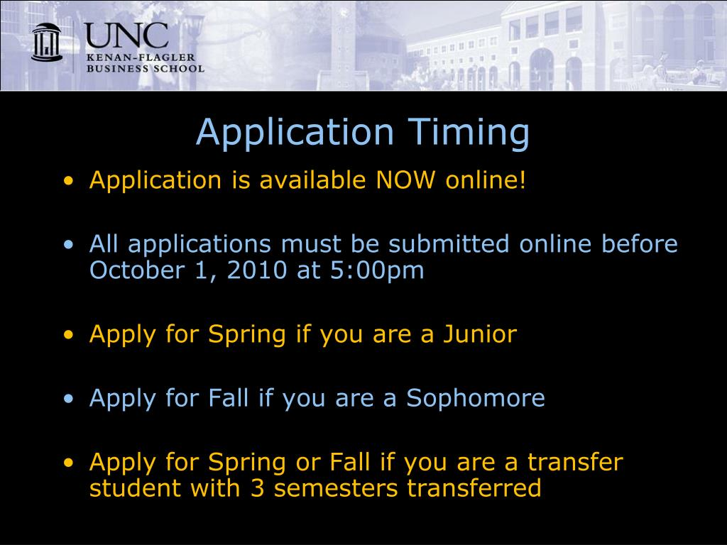 Application Timing