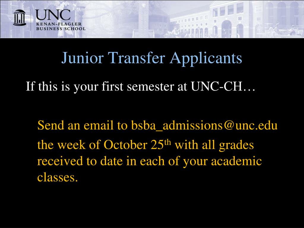 Junior Transfer Applicants