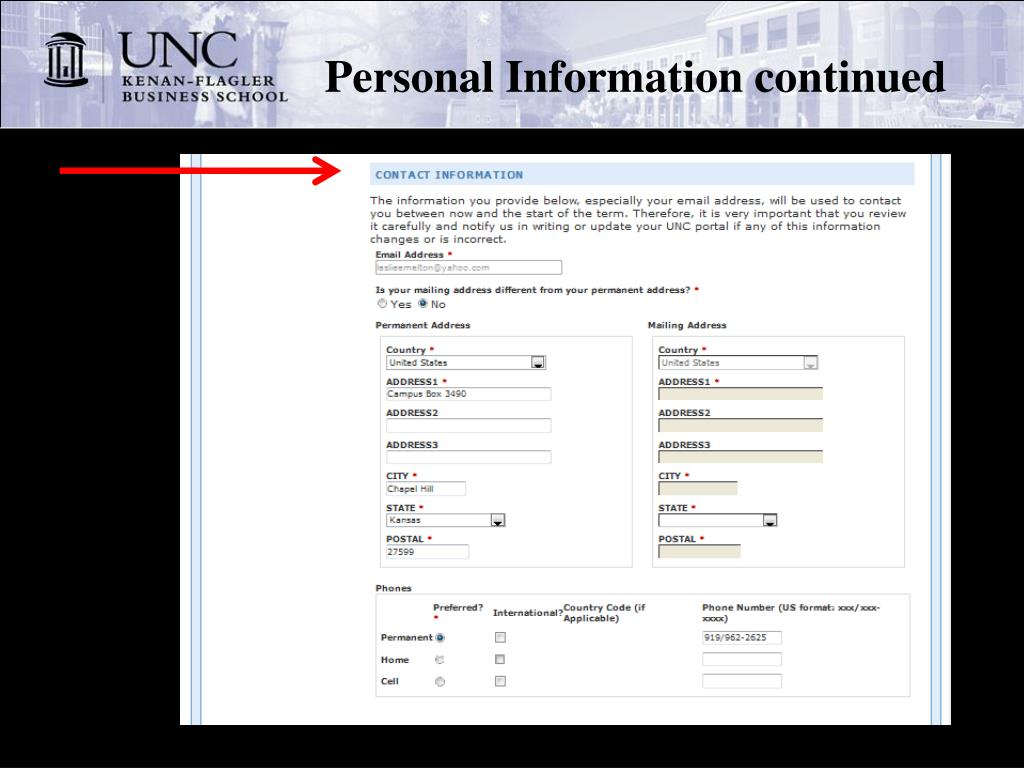 Personal Information continued