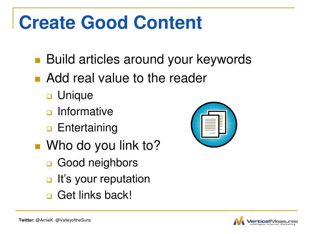 Create Good Content