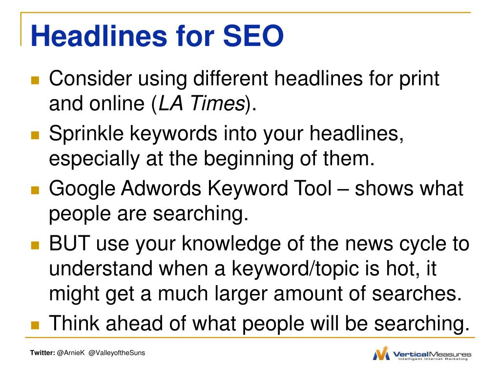 Headlines for SEO