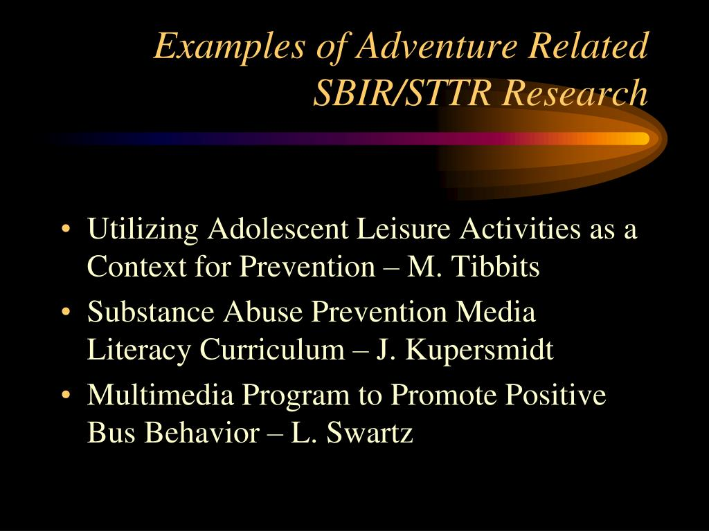 Examples of Adventure Related SBIR/STTR Research
