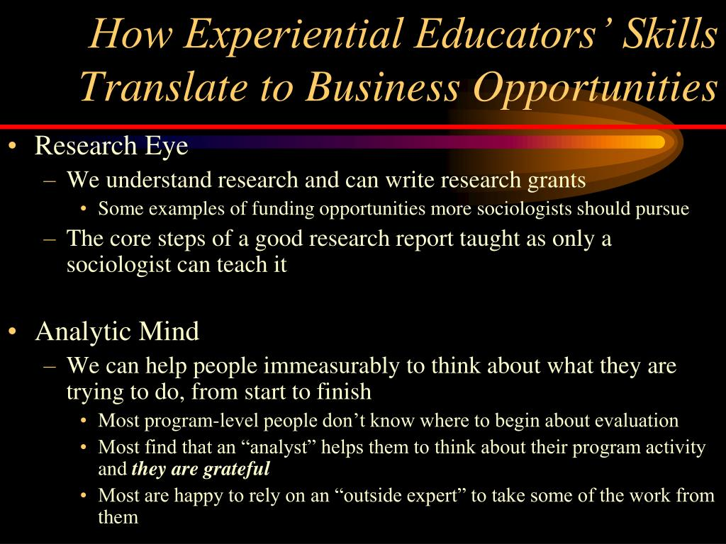 How Experiential Educators' Skills Translate to Business Opportunities