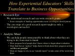 how experiential educators skills translate to business opportunities