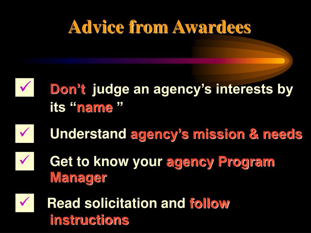 Advice from Awardees