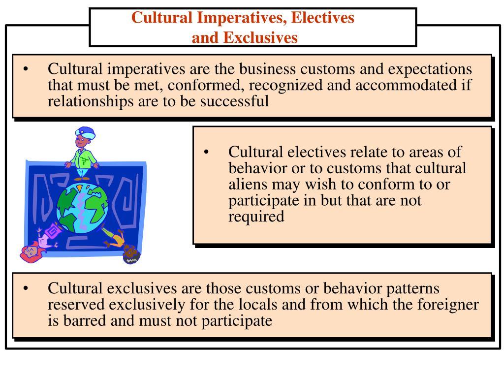 Cultural Imperatives, Electives