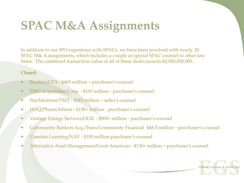 SPAC M&A Assignments