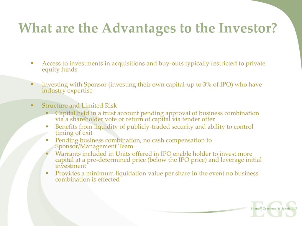 What are the Advantages to the Investor?