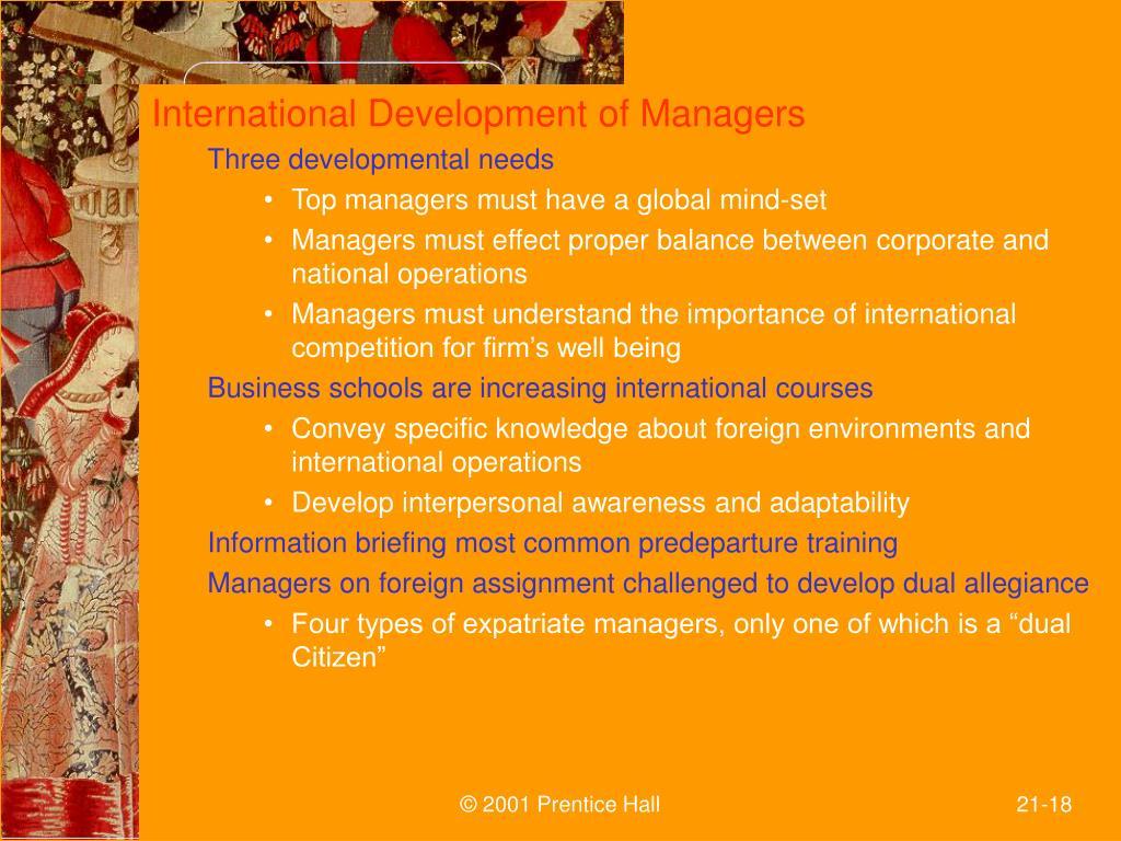 International Development of Managers