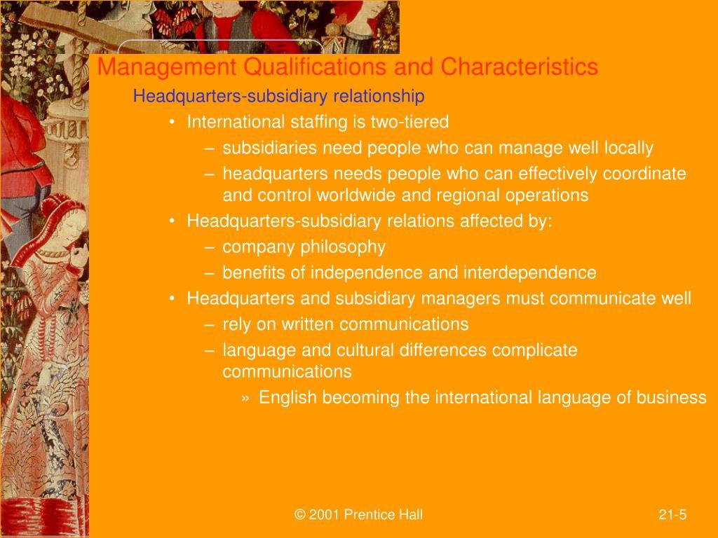 Management Qualifications and Characteristics