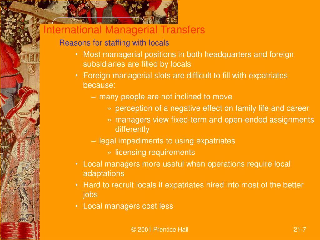 International Managerial Transfers