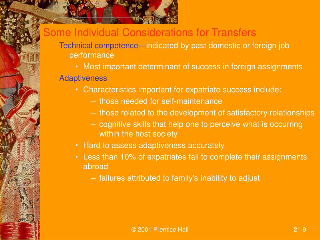Some Individual Considerations for Transfers