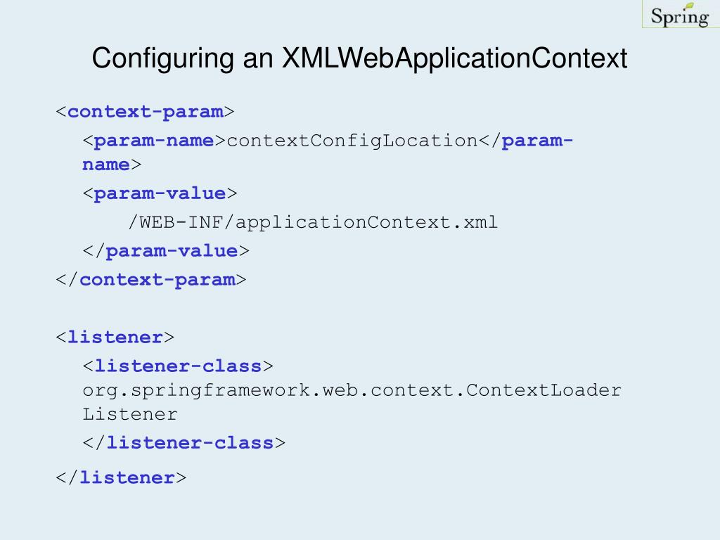 Configuring an XMLWebApplicationContext