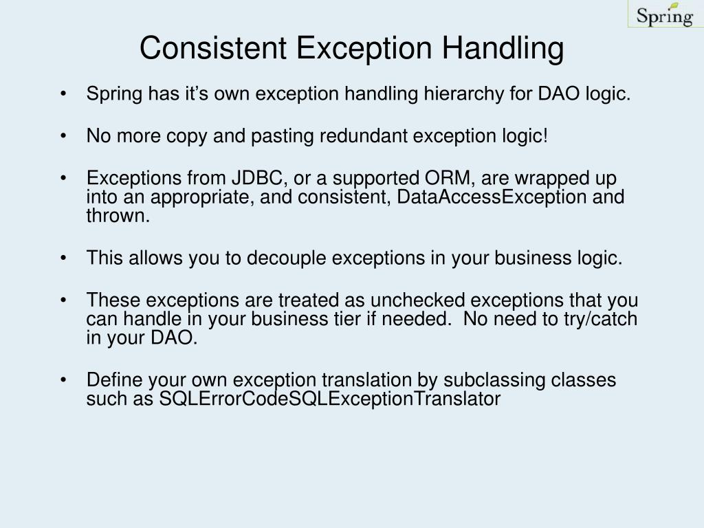 Consistent Exception Handling