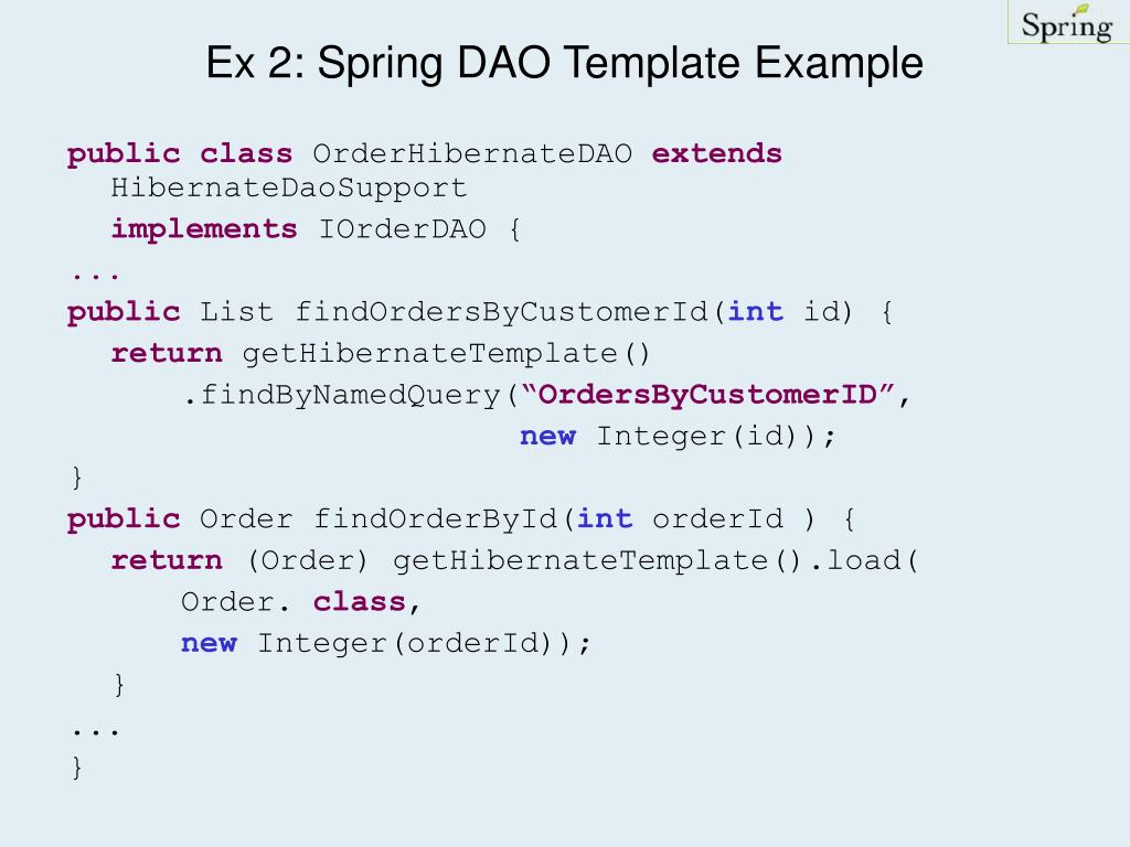 Ex 2: Spring DAO Template Example