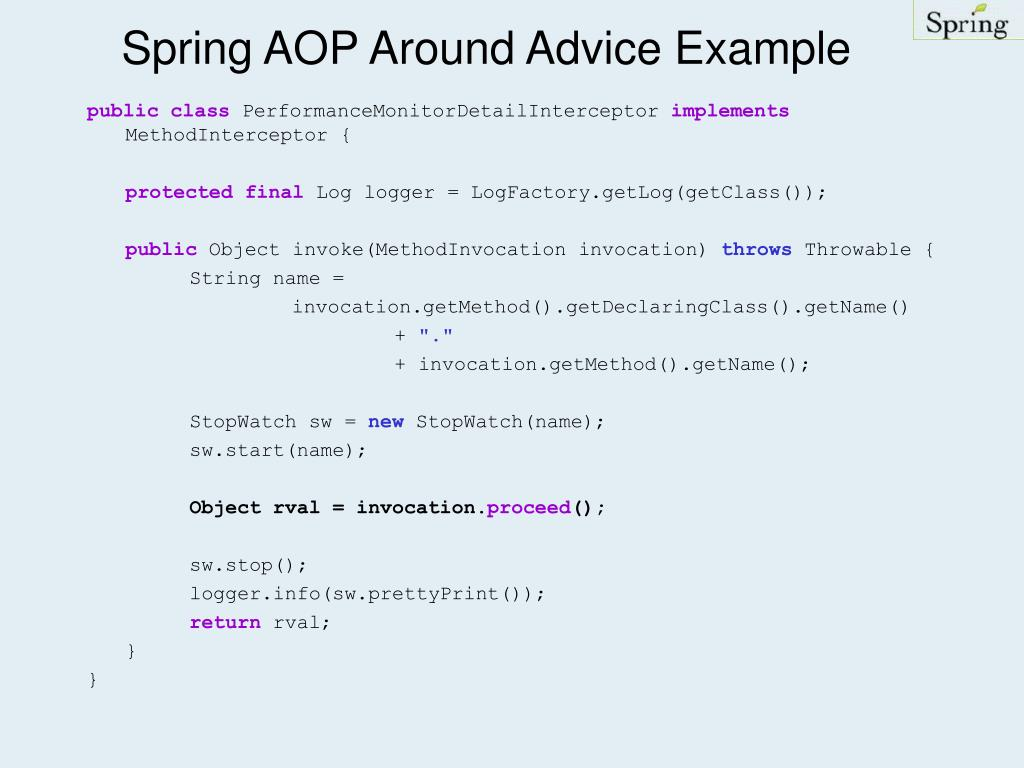 Spring AOP Around Advice Example