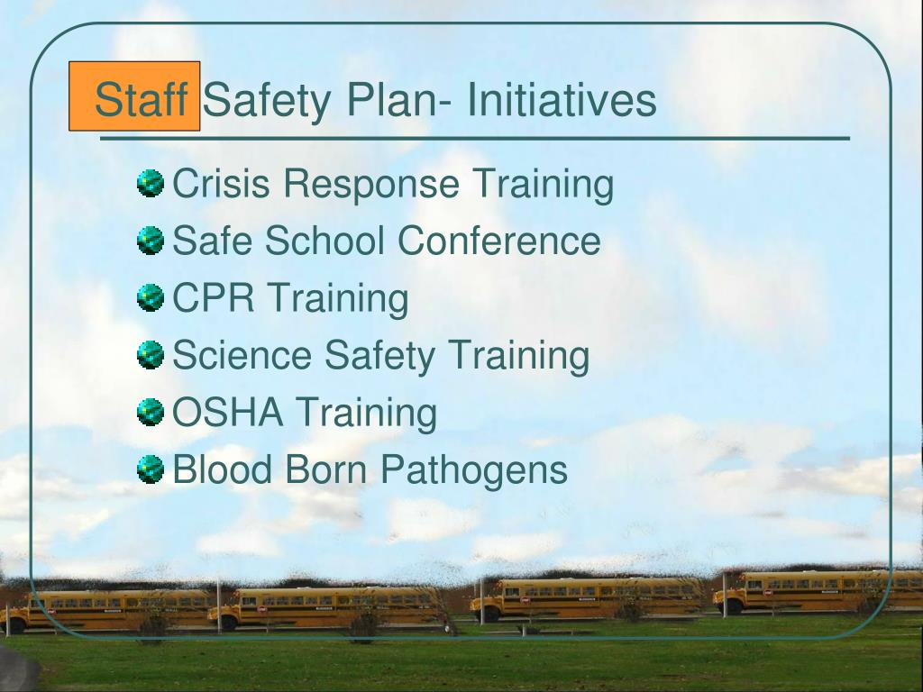 Staff Safety Plan- Initiatives