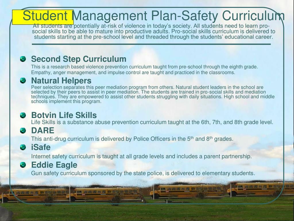 Student Management Plan-Safety Curriculum