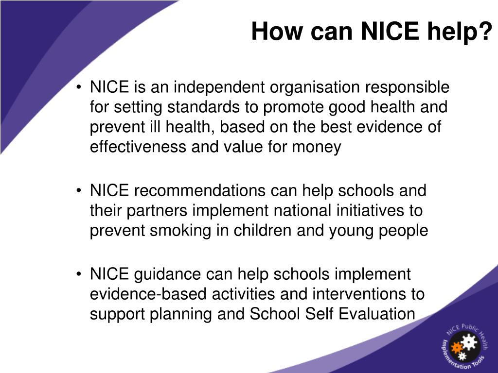 How can NICE help?