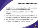 peer led interventions
