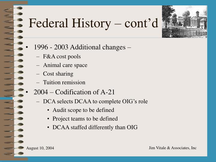 Federal History – cont'd