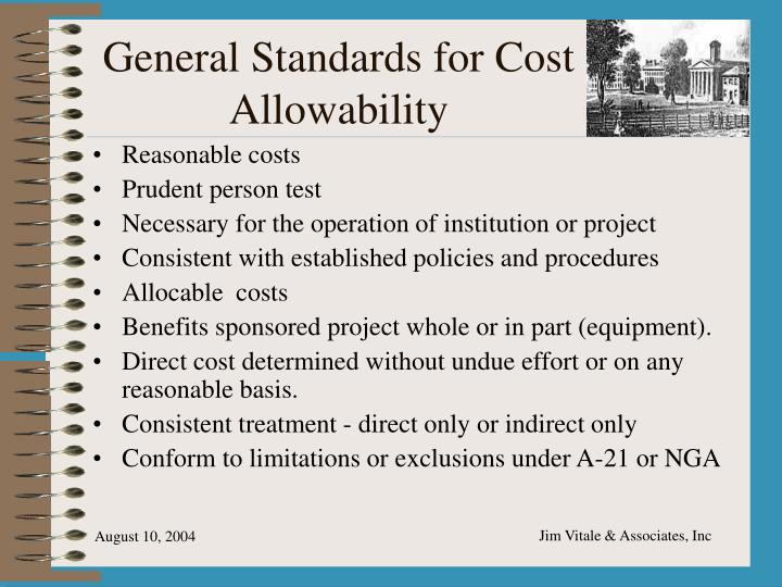 General Standards for Cost Allowability