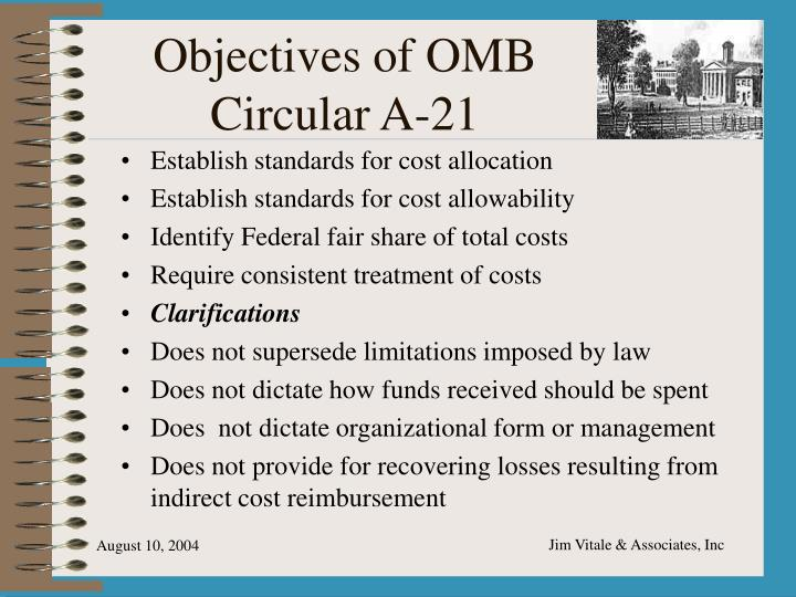 Objectives of OMB Circular A-21