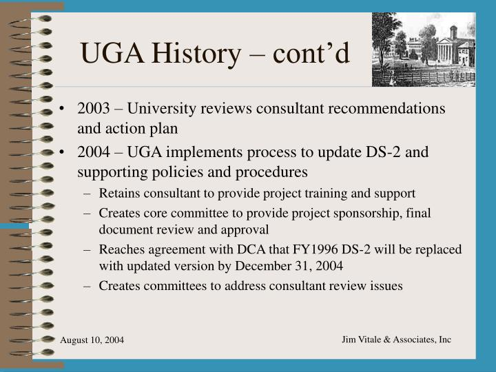 UGA History – cont'd