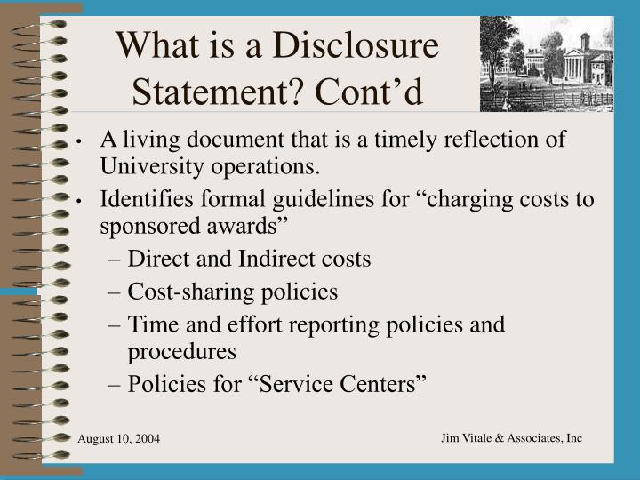 What is a Disclosure Statement? Cont'd