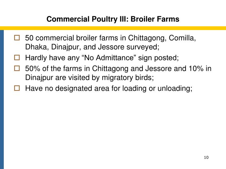 Commercial Poultry III: Broiler Farms