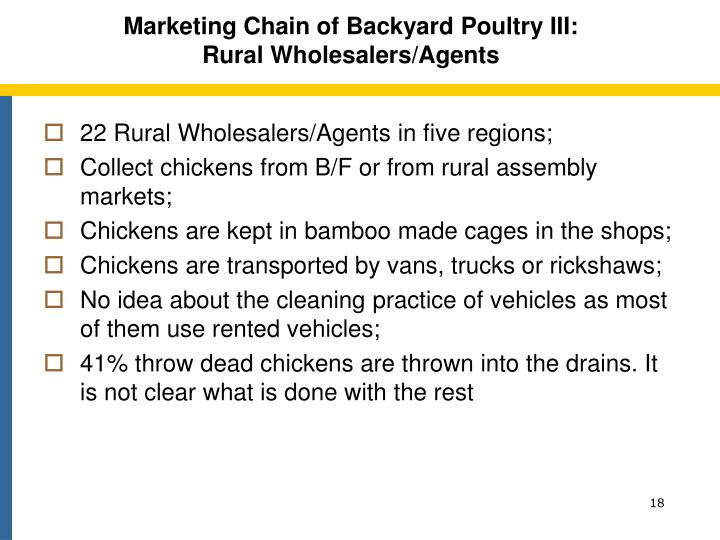 Marketing Chain of Backyard Poultry III: