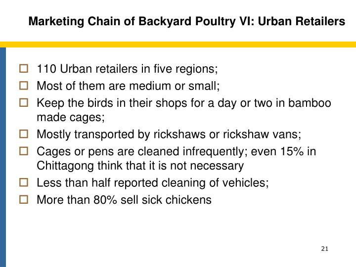 Marketing Chain of Backyard Poultry VI: Urban Retailers