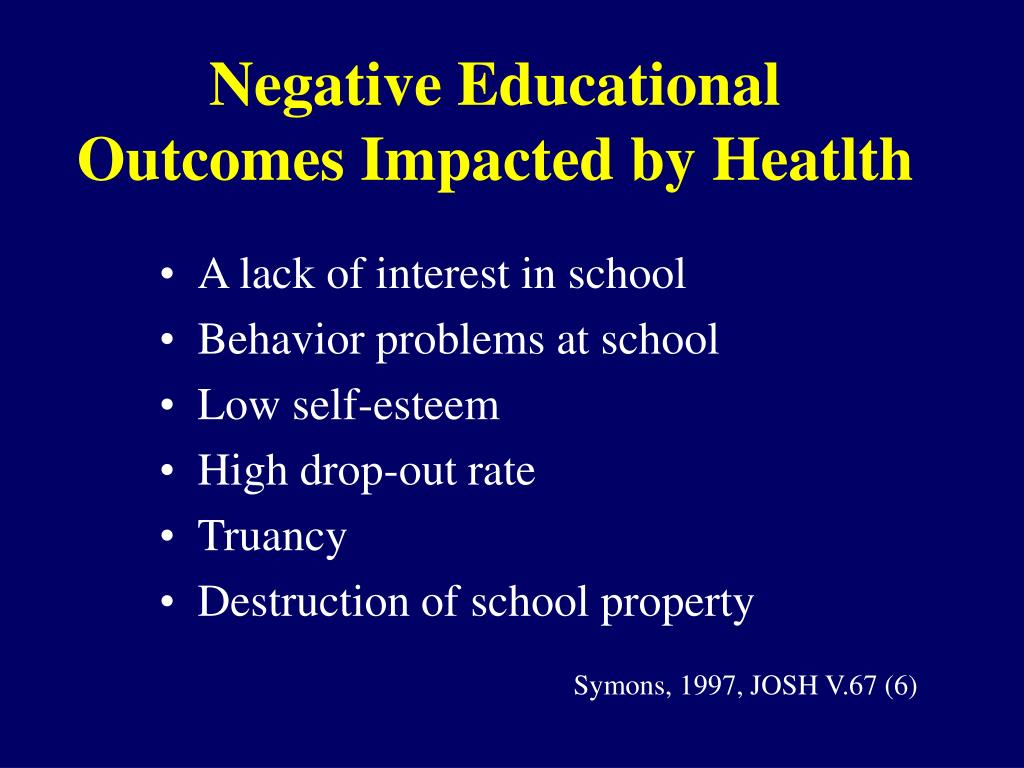 Negative Educational Outcomes Impacted by Heatlth