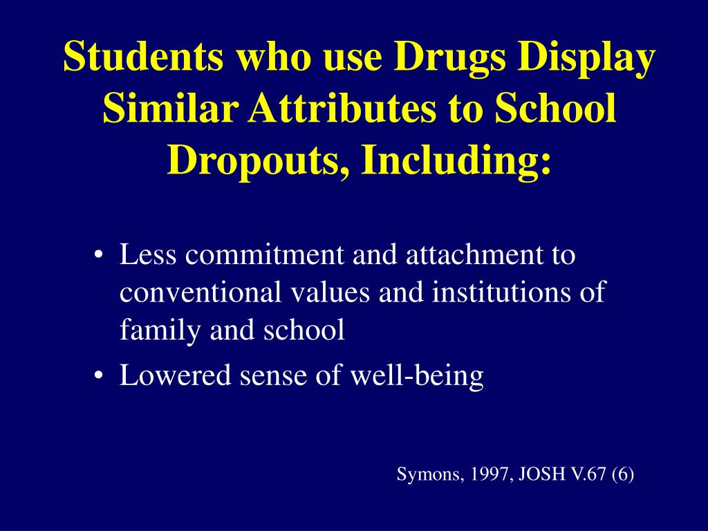 Students who use Drugs Display Similar Attributes to School Dropouts, Including: