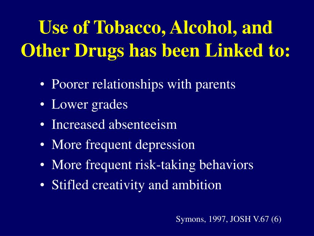 Use of Tobacco, Alcohol, and Other Drugs has been Linked to: