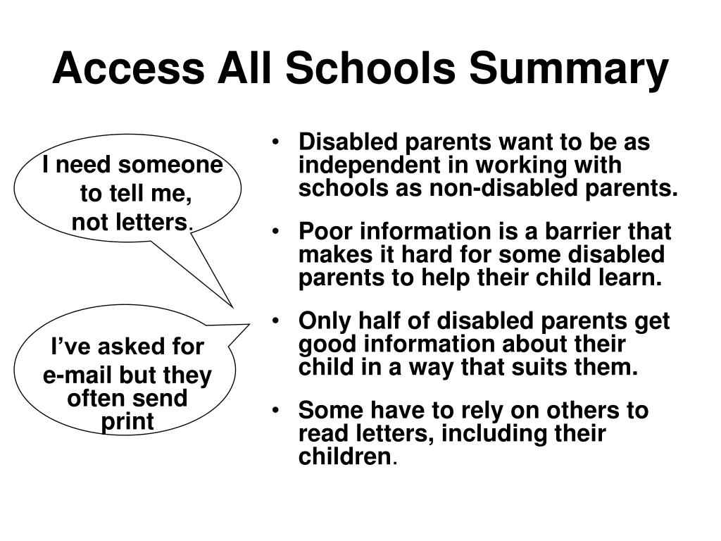 Access All Schools Summary