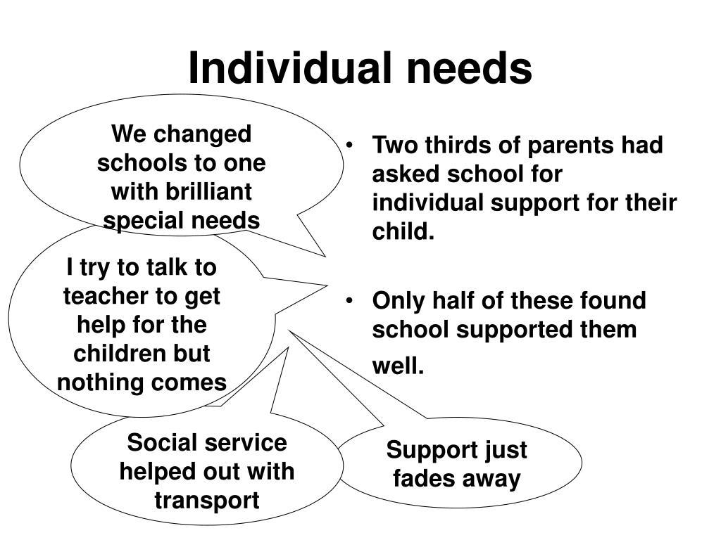Individual needs