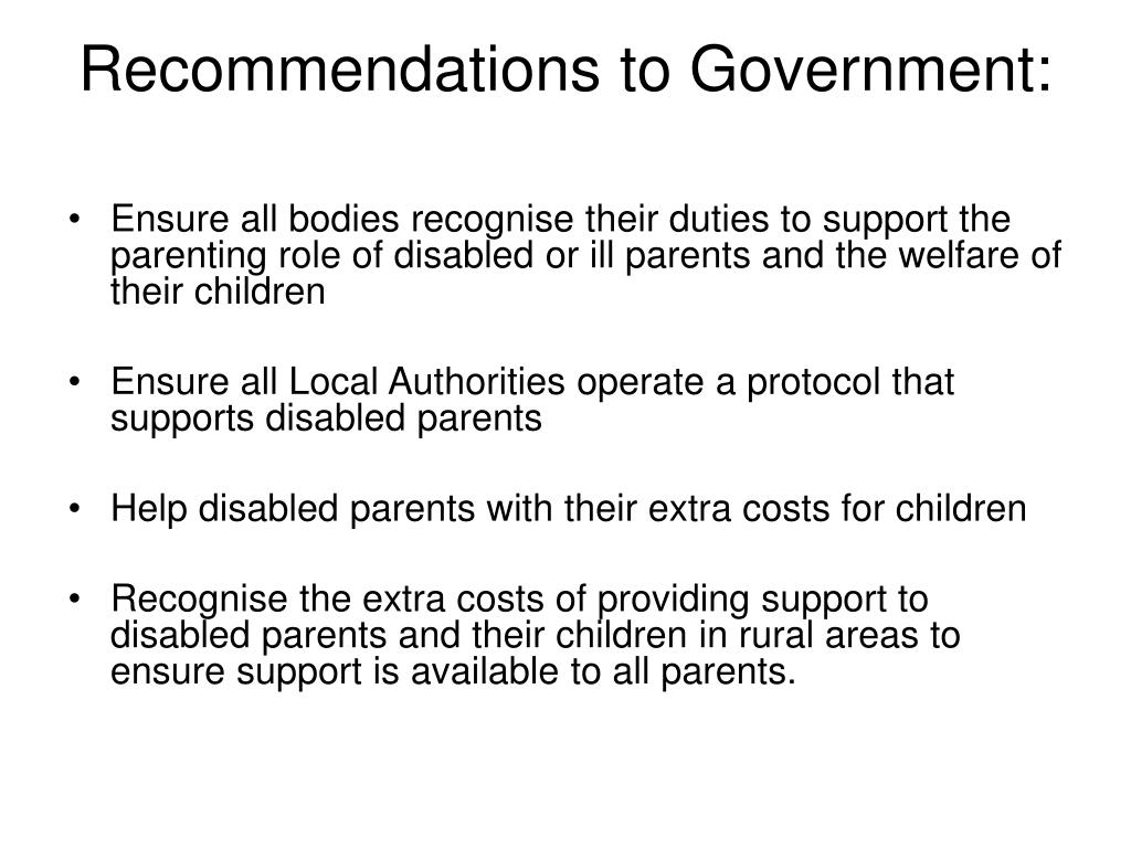 Recommendations to Government: