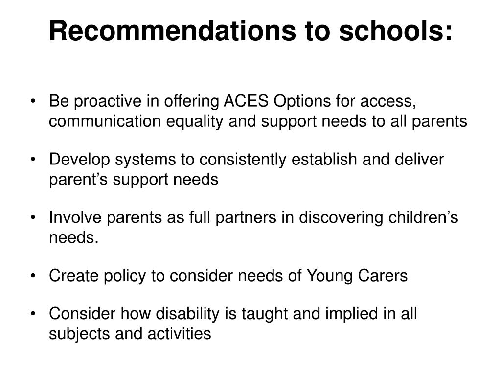 Recommendations to schools: