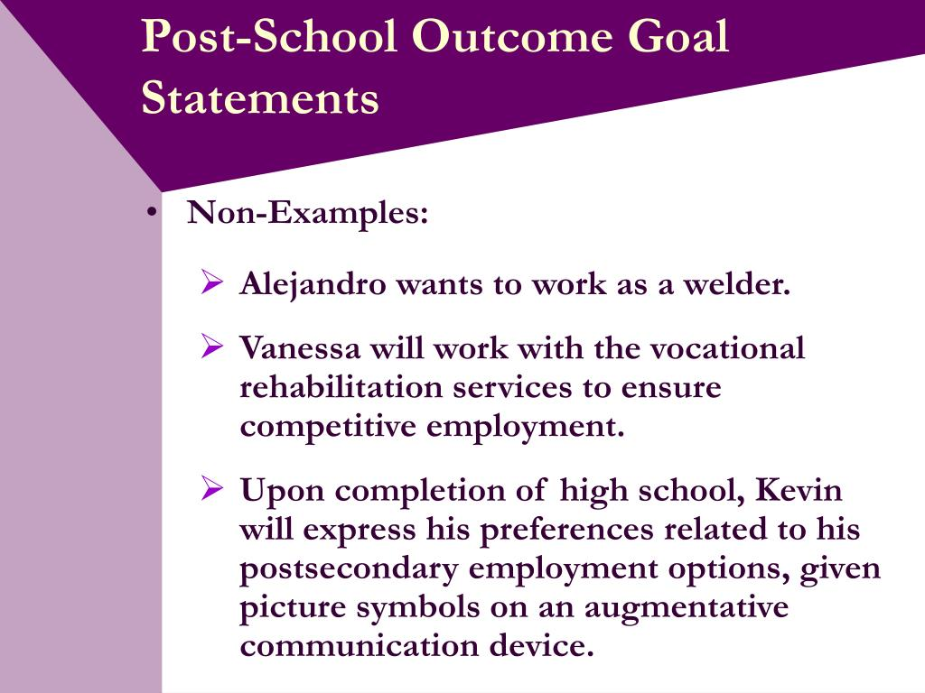Post-School Outcome Goal Statements