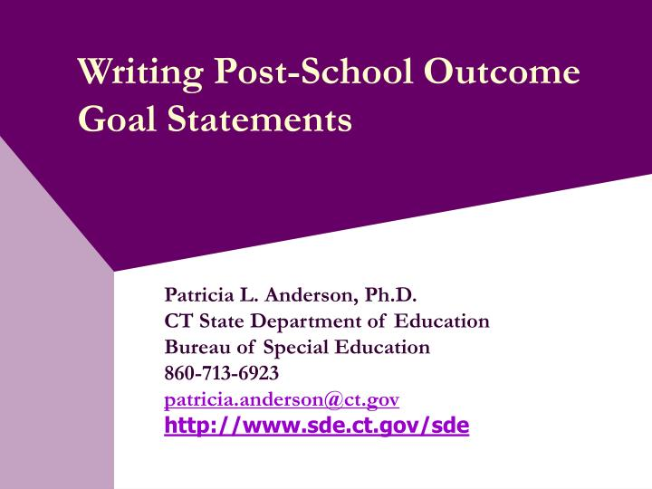 Writing post school outcome goal statements
