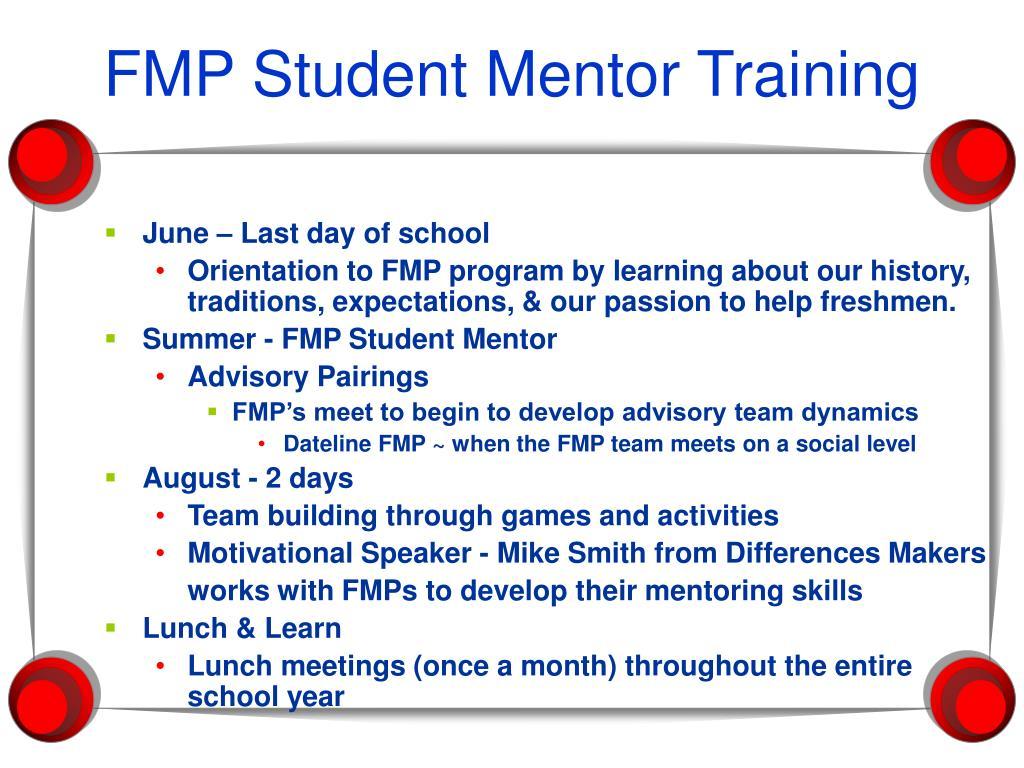 FMP Student Mentor Training