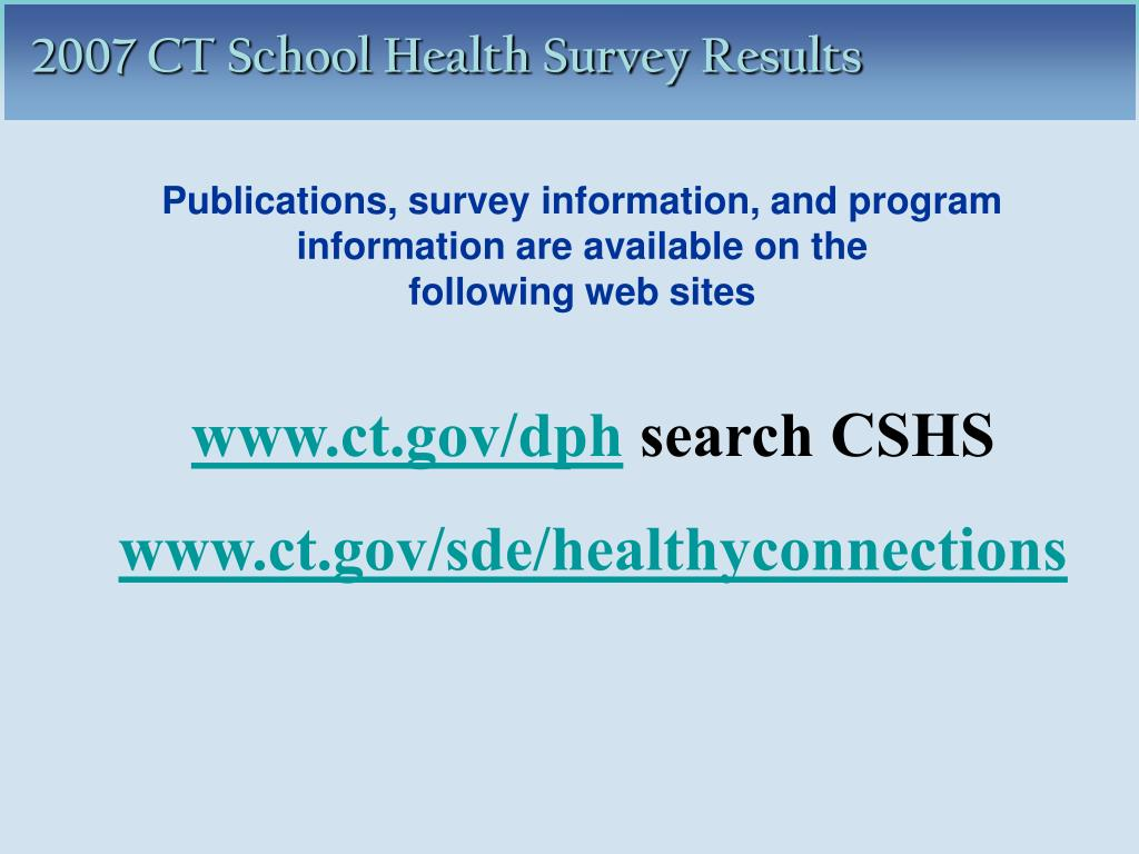 Publications, survey information, and program information are available on the