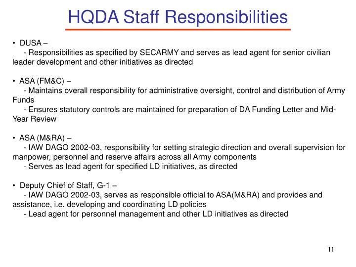 HQDA Staff Responsibilities