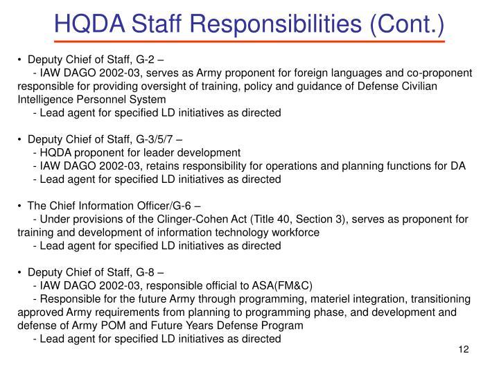 HQDA Staff Responsibilities (Cont.)