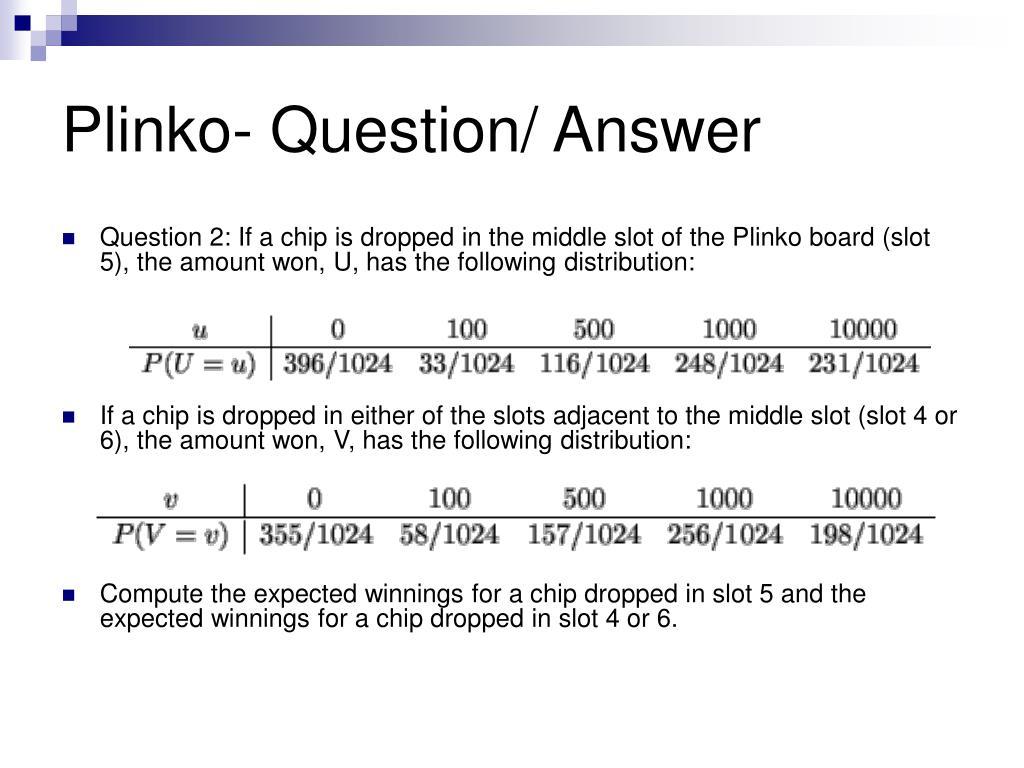 Plinko- Question/ Answer
