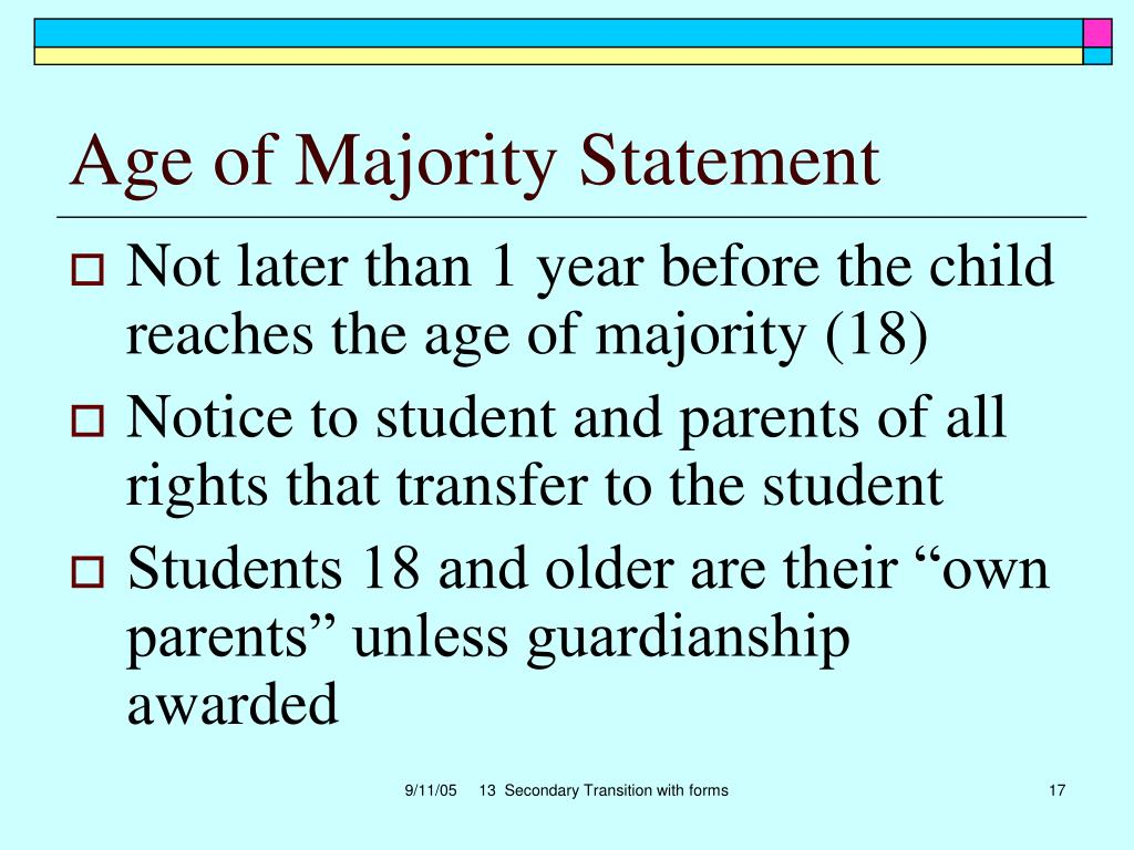 Age of Majority Statement